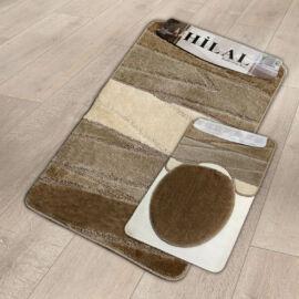 Hilal 3 részes fürdőszobaszőnyeg - barna hullámos