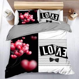 7 részes Color ágynemű garnitúra - fekete, love