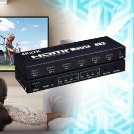 HDMI mátrix elosztó 4x2-es, 4K támogatással