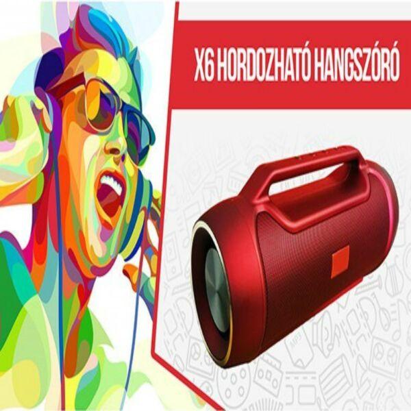 X6 hordozható bluetooth hangfal - piros