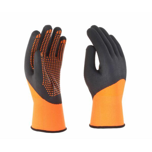 Narancssárga poliészter/spandex kesztyű, 3/4-ig fekete nitril mártott, narancssárga nitril pontozással a tenyéren