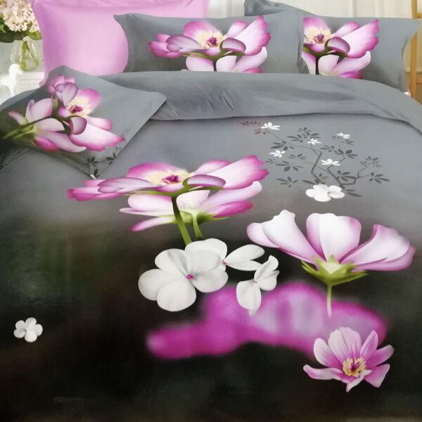 7 részes Flower ágyneműhuzat garnitúra Sötét alapon lila